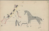 view Anonymous Cheyenne drawing of Indian man counting coup with lance, with horse and shield nearby digital asset: Anonymous Cheyenne drawing of Indian man counting coup with lance, with horse and shield nearby