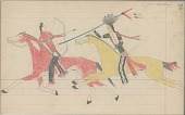 view Anonymous Cheyenne drawing of Indian man on horseback counting coup with lance digital asset: Anonymous Cheyenne drawing of Indian man on horseback counting coup with lance