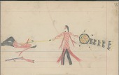 view Anonymous Cheyenne drawing of Indian man with shield counting coup with lance digital asset: Anonymous Cheyenne drawing of Indian man with shield counting coup with lance