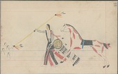 view Anonymous Cheyenne drawing of Indian man with shield counting coup with lance, with horse nearby digital asset: Anonymous Cheyenne drawing of Indian man with shield counting coup with lance, with horse nearby