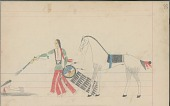view Anonymous Cheyenne drawing of Indian man with shield shooting gun at second Indian man, half concealed in a hollow digital asset: Anonymous Cheyenne drawing of Indian man with shield shooting gun at second Indian man, half concealed in a hollow