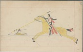 view Anonymous Cheyenne drawing of Indian on yellow horse counting coup on Indian with arms outreached digital asset: Anonymous Cheyenne drawing of Indian on yellow horse counting coup on Indian with arms outreached