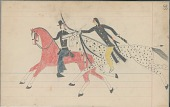view Anonymous Cheyenne drawing of Indian on spotted horse counting coup with saber on U.S. soldier on red horse digital asset: Anonymous Cheyenne drawing of Indian on spotted horse counting coup with saber on U.S. soldier on red horse