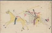 view Anonymous Cheyenne drawing of Indian on horseback counting coup with lance on White man on yellow horse digital asset: Anonymous Cheyenne drawing of Indian on horseback counting coup with lance on White man on yellow horse