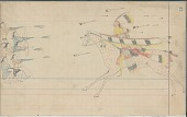 view Anonymous Arapaho drawing of warrior with shield and lance charging a group of enemies, probably Navaho or Pueblo digital asset: Anonymous Arapaho drawing of warrior with shield and lance charging a group of enemies, probably Navaho or Pueblo