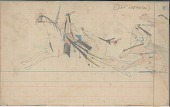 view Anonymous Arapaho drawing of three mounted men chasing a mounted Indian man digital asset: Anonymous Arapaho drawing of three mounted men chasing a mounted Indian man