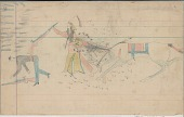 view Anonymous Arapaho drawing of warrior with shield counting coup with rifle on U.S. soldier while under fire from other soldiers digital asset: Anonymous Arapaho drawing of warrior with shield counting coup with rifle on U.S. soldier while under fire from other soldiers