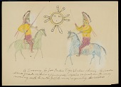 view Mask-Dance Guards in Regalia on Horses; Mother God, or The Moon Supervising Their Actions Drawing digital asset: Mask-Dance Guards in Regalia on Horses; Mother God, or The Moon Supervising Their Actions Drawing