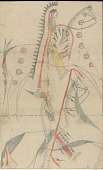 view Anonymous Cheyenne drawing of four Indian men on horseback meeting each other digital asset: Anonymous Cheyenne drawing of four Indian men on horseback meeting each other