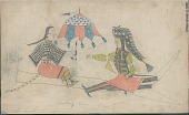view Anonymous Cheyenne drawing of courting scene, with woman holding umbrella digital asset: Anonymous Cheyenne drawing of courting scene, with woman holding umbrella