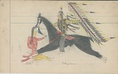 view Anonymous Cheyenne drawing of Cheyenne counting coup with lance on Ute man digital asset: Anonymous Cheyenne drawing of Cheyenne counting coup with lance on Ute man