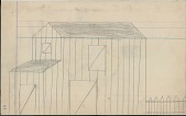 view Anonymous drawing of barn and fence digital asset: Anonymous drawing of barn and fence