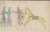 view Anonymous Cheyenne drawing of White Eagle capturing Pueblo Indians digital asset: Anonymous Cheyenne drawing of White Eagle capturing Pueblo Indians