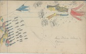 view Anonymous Cheyenne drawing of Iron Shirt killed by Pawnee warriors in battle, over faint drawing of horses digital asset: Anonymous Cheyenne drawing of Iron Shirt killed by Pawnee warriors in battle, over faint drawing of horses
