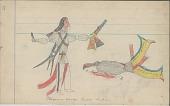 view Anonymous Cheyenne drawing of Cheyenne scalping Shoshoni digital asset: Anonymous Cheyenne drawing of Cheyenne scalping Shoshoni