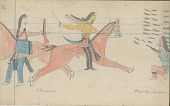 view Anonymous Cheyenne drawing of warfare scene between Cheyennes and Shoshonis digital asset: Anonymous Cheyenne drawing of warfare scene between Cheyennes and Shoshonis