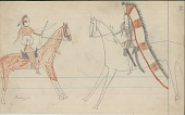 view Anonymous Cheyenne drawing of warrior counting coup on Osage digital asset: Anonymous Cheyenne drawing of warrior counting coup on Osage