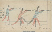 view Anonymous Cheyenne drawing of Mad Bull in battle with Utes digital asset: Anonymous Cheyenne drawing of Mad Bull in battle with Utes
