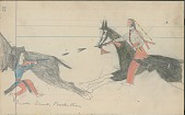 view Anonymous Cheyenne drawing of Indian man on horseback shooting at Shoshoni scout at Powder River digital asset: Anonymous Cheyenne drawing of Indian man on horseback shooting at Shoshoni scout at Powder River