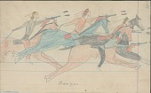 view Anonymous Cheyenne drawing of Osages chasing Cheyennes, each with a shield digital asset: Anonymous Cheyenne drawing of Osages chasing Cheyennes, each with a shield