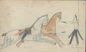 view Anonymous Cheyenne drawing of Cheyenne on horseback shooting at Ute digital asset: Anonymous Cheyenne drawing of Cheyenne on horseback shooting at Ute