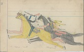 view Anonymous Cheyenne drawing of Cheyenne attacking two Pawnee scouts digital asset: Anonymous Cheyenne drawing of Cheyenne attacking two Pawnee scouts