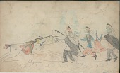 view Anonymous Cheyenne drawing of Cheyenne man on horseback charging three Osage men digital asset: Anonymous Cheyenne drawing of Cheyenne man on horseback charging three Osage men