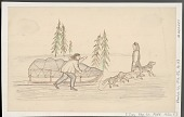 view Two Eskimos and Fatigued Dog Sled Team; Trees Nearby Drawing digital asset: Two Eskimos and Fatigued Dog Sled Team; Trees Nearby Drawing