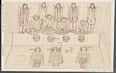 view Five Women in Costume Holding Feathered Sticks Standing on Platform of Kashim; Four Eskimo Men in Costume Sitting on Platform; Four Masked Figures Peering Out; Backs of Three drummers in Foreground Drawing digital asset: Five Women in Costume Holding Feathered Sticks Standing on Platform of Kashim; Four Eskimo Men in Costume Sitting on Platform; Four Masked Figures Peering Out; Backs of Three drummers in Foreground Drawing