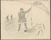 view An Eskimo Fishing Through the Ice with Line; Two Eskimos in Background Fishing; Village Depicted in Corner Drawing digital asset: An Eskimo Fishing Through the Ice with Line; Two Eskimos in Background Fishing; Village Depicted in Corner Drawing