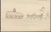 view An Eskimo Riding Dog Sled with Provisions; an Eskimo Running Nearby Drawing digital asset: An Eskimo Riding Dog Sled with Provisions; an Eskimo Running Nearby Drawing