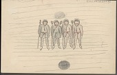view Four Eskimos Holding Pole-Like Objects Inside a Kashim; Dark Circle Representing Entrance Drawing digital asset: Four Eskimos Holding Pole-Like Objects Inside a Kashim; Dark Circle Representing Entrance Drawing