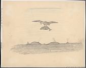 view Mythological Figure, Tin-Mi-Uk-Puk (Thunderbird), with Whale in Its Claws Flying Above Whales in Water Drawing digital asset: Mythological Figure, Tin-Mi-Uk-Puk (Thunderbird), with Whale in Its Claws Flying Above Whales in Water Drawing
