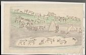 view Two Lapps Gathering Wood at Camp Surrounded by Reindeer Herd Drawing digital asset: Two Lapps Gathering Wood at Camp Surrounded by Reindeer Herd Drawing
