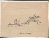 view Reindeer Sledding Drawing digital asset: Reindeer Sledding Drawing