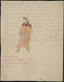 view Omaha drawing, possibly by George Miller, of Shoodagena dressed for war with medicine scarf around neck, ca. 1889 digital asset number 1