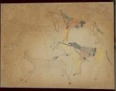 view Takzi drawing of hunters pursuing pronghorn antelope and deer digital asset: Takzi drawing of hunters pursuing pronghorn antelope and deer