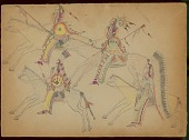 view Takzi drawing of four warriors with shields, lances, and firearms on horseback digital asset: Takzi drawing of four warriors with shields, lances, and firearms on horseback