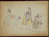 view Takzi drawing of three warriors with shields on horseback, one figure incomplete digital asset: Takzi drawing of three warriors with shields on horseback, one figure incomplete