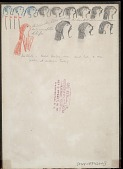 view Two Strikes drawing of his head and torso, with images of 4 pipes to indicate war parties led and 12 heads to indicate enemies killed digital asset: Two Strikes drawing of his head and torso, with images of 4 pipes to indicate war parties led and 12 heads to indicate enemies killed
