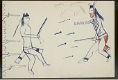 view Lean Wolf drawing of himself facing Sioux enemy digital asset: Lean Wolf drawing of himself facing Sioux enemy