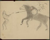 view Hidatsa drawing, possibly by Lean Wolf, of Lean Wolf on horseback with shield and lance attacked unmounted enemy, circa 1880-1881 digital asset number 1