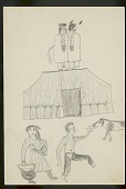 view Lean Wolf drawing of two men in rear view standing on top of earth lodge, with male and female figures in foreground with dog, 1881 digital asset number 1