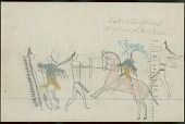 view Little Big Man drawing of battle scene, with two warriors wearing blue and yellow hairlock shirt, one identified with name glyph, counting coup on series of enemies digital asset: Little Big Man drawing of battle scene, with two warriors wearing blue and yellow hairlock shirt, one identified with name glyph, counting coup on series of enemies