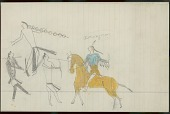 view Little Big Man drawing of battle scene, with warrior wearing blue and yellow hairlock shirt counting coup on enemies digital asset: Little Big Man drawing of battle scene, with warrior wearing blue and yellow hairlock shirt counting coup on enemies