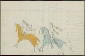 view Little Big Man drawing of battle scene, with warrior with horned headdress counting coup on enemy digital asset: Little Big Man drawing of battle scene, with warrior with horned headdress counting coup on enemy