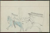 view Little Big Man drawing of battle scene, with warrior with feathered headdress striking enemy in horned headdress digital asset: Little Big Man drawing of battle scene, with warrior with feathered headdress striking enemy in horned headdress