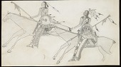 view Anonymous partial copy of Takzi drawing of two warriors with shields, lances, and firearms on horseback digital asset: Anonymous partial copy of Takzi drawing of two warriors with shields, lances, and firearms on horseback