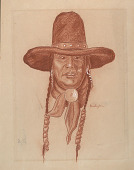 view Portrait of Indian Man with Hat n.d. Drawing digital asset number 1
