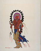 view Indian Man in Headdress n.d. Painting digital asset number 1